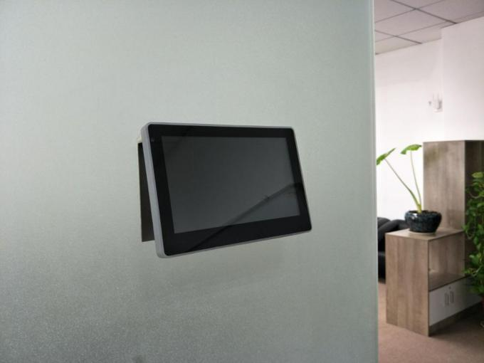Glass wall mounted LCD Panel tablet pc with POE and Light bar for smart office solution